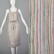 M 1970s Pastel Stripe Sleeveless Dress Casual Summer Day Wear Loose Breezy 70s