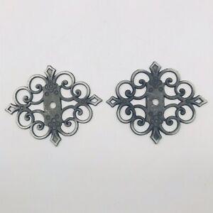 Two (2) Allison 793 Ornate Metal Backplate Black w/ Silver Edges Japan