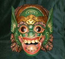 Vintage Balinese Dragon Barong Wood Carved and Painted Mask Demon Decor