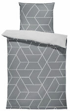 4 teilig Bettwäsche 135x200 cm geometrisch modern grau anthrazit weiß Mikrofaser