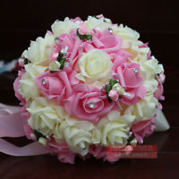 Pink&Ivory Artificial Roses Wedding Bridal Bouquet Bride/Bridesmaid Hand Flower