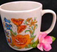 Vintage Orange Butterfly Mug Flower Coffee Cup Made in Japan