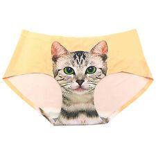 Women Pussycat Panties Anti Emptied Kitty Cat Print Underwear Seamless Briefs PN