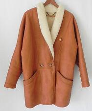 Echt Lammfell Lambs Skin Fur Coat Brown Double Breasted Size 38(L)