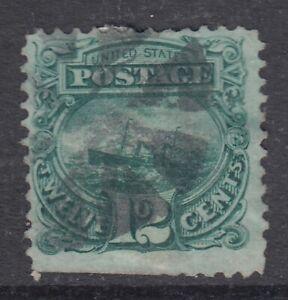 """USA Scott #117  12 cent Ship  green  """"G""""  Grill    *"""