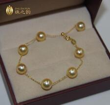 """7.5-8"""" Gorgeous AAA+ 8-8.5mm natural south sea golden round pearl bracelet 18k"""
