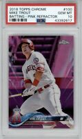 2018 Topps Chrome Mike Trout #100 Pink Refractor PSA 10 Gem Mint Angels