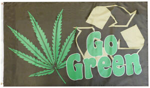 Go Green Recycle Marijuana Pot Leaf 100D Woven Poly Nylon 3x5 3'x5' Flag Banner