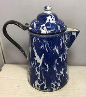 """Vintage Antique Cobalt Blue Swirl Enamelware Graniteware 10"""" Coffee Pot"""