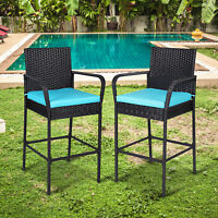 Set of 2 Bar Stools Outdoor Black PE Wicker Barstool Pool High Chair w/ Cushions