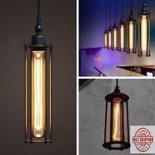 110V Industrial Vintage Hanging Caged Pendant Home Ceiling Light Lamp Fixture