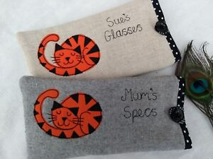 Handmade Personalised Ginger Cat Glasses Sunglasses Case Gift Grey or Linen Dot