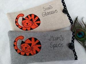 Handmade Personalised Ginger Cat Glasses Sunglasses Case Gift Grey or Linen Dot