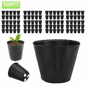 100 PACK NURSERY Post Outdoor Vegetable Flower Plant Plastic Pot Garden