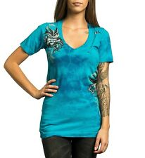 NWT AFFLICTION Sinful Turquoise Bling T-Shirt Top Womens XS NEW Biker