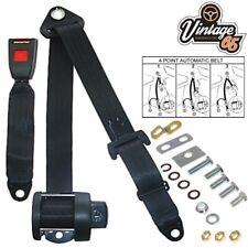 Vintage Warehouse Front Rear 4 Point Automatic Lap & Diagonal Seat Belt Kit Blk