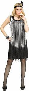 20er Set Charleston Fransen-Kleid Schwarz/Silber Stirnband Pailletten Feder