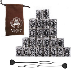 24 Pack Norse Viking Runes Beads for Bracelets Pendant Necklace Beard Hair