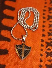 cross shield pendant with free chain necklace Stainless steel