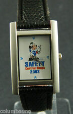 MICKEY MOUSE WATCH/ LONG FACE/SILVER CASE /SAFETY CENTRAL SHOP 2002 /COLLECTIBLE