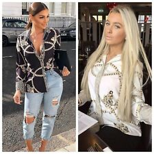 Women Ladies Black Leopard Chain Scarf Printed Button up Shirt Blouse Top RRP 40