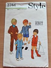 RARE 70s STYLE Child's Waistcoat Jacket Trousers Sewing Pattern #3744 Sz: 2
