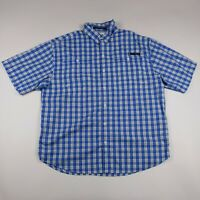 Mens Columbia L Blue Plaid Omni-shade Vented PFG Short Sleeve Button Front Shirt