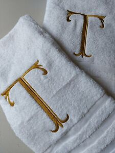 Monogram Hand & Bath Towel  Any Initial and embroidery colour of your choice