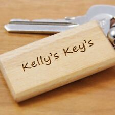 Personalised Engraved Wooden Keyring - Birthday, Christmas Gift