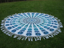 Round Mandala Indian Bohemian Light Blue & White Tapestry Beach Picnic Throw Rug