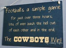 Simple Game Dallas Cowboys Sign Handmade Football Bar Jersey Tickets Cards
