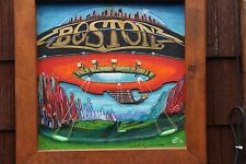Don't Look Back - Boston hand carved album cover on wood