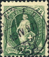 SUISSE / SWITZERLAND - Mi.59C 25c yellow-green p.11-3/4-1x11 used GUNTEN 1897