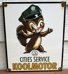 VINTAGE 1947 DATED CITIES SERVICE KOOLMOTOR PORCELAIN GAS PUMP ADVERTISING SIGN