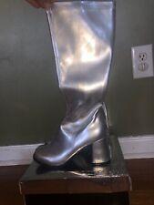 Ellie Go Go Womens Silver Knee High Boots W/zipper size 7,  dress up