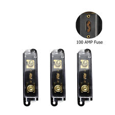 3x Marine Car Audio Anl Fuse Holder with 100 Amp Inline Fuses Circuit Protection