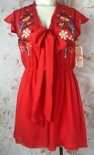 NWT Dillards Gianni Bini embroidered tie front romper large