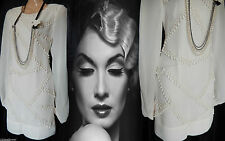 Flapper Dress Gatsby Vintage 20's Beaded Tassel Art Deco Downton Nude 8 36 US 4