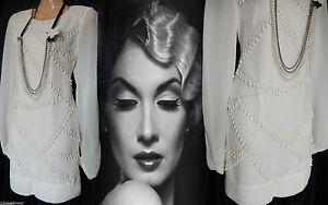 Flapper Dress Gatsby Vintage 20s 30s Peaky Blinders Beaded Tassel Nude 8 36 US 4