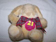 """VGC Soft Plush 7"""" 21st Birthday Rabbit Soft Toy From Hallmark"""