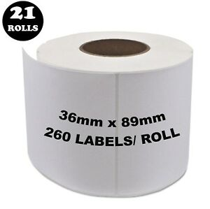 21 Rolls Dymo Seiko Compatible 99012 Labels 36mm x 89mm 260 Per Roll Labelwriter