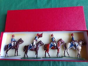 4x 54mm 1/32 metal Napoleonic British Hussars mounted