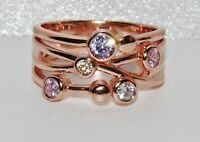 9ct Rose Gold on Silver Multi Gem Abstract Cocktail Ring - Sizes Available