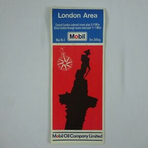 """Vintage 1966 Mobil Map of London Area 36"""" x 23"""""""