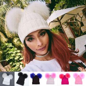 Womens Double Pom Pom Knitted Beanie Hat Bobble Ski Casual Soft Winter Warm Cap