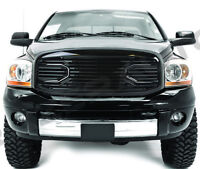 Gloss Black Big Horn Grille+Replacement Shell for 06-09 Dodge RAM 2500+3500 Truc