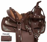 """Synthetic Western Adult Barrel Racing Horse Saddle Tack Set Size 14""""-18"""" (Brown)"""