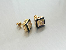 Mens Ladies 10K Gold Simulated Lab Created Diamond Screw Back Stud Earrings 10mm