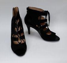 Nine West Shoes Heels Lace Up Zipper Caged Peep Toe Black Stiletto Size 7.5 M