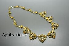 Vintage art deco Czech yellow glass filigree gold-tone brass necklace